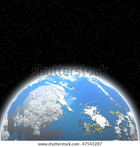 The blue planet with fine layer atmosphere on  starry sky background.