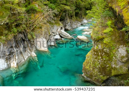 beautiful turquoise river queenstown new zealand stock photo