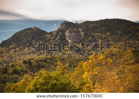 The Blue Ridge Mountains in the fall near Blowing Rock, North Carolina - stock photo