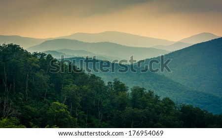 The Blue Ridge Mountains, seen from Skyline Drive in Shenandoah National Park, Virginia. - stock photo