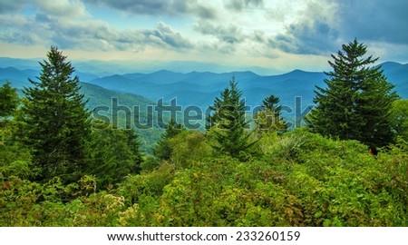 The Blue Ridge Parkway. Horizon over the Appalachian Mountains in North Carolina.  - stock photo