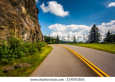 The Blue Ridge Parkway, in North Carolina. - stock photo