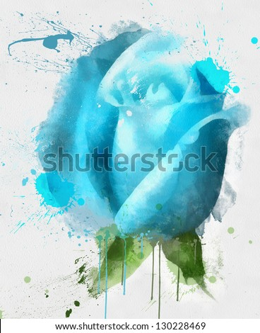 The Blue Rose, watercolor - stock photo