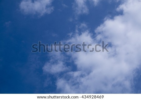 The blue sky with the cloud on the right of picture , daytime - stock photo