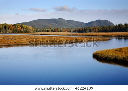 The Blue Water Of Marshall Brook, A Winding Waterway At Acadia National Park, Maine - stock photo