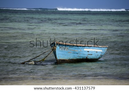 The blue wooden boat