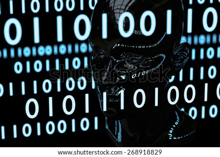 The blueish binary matrix codes reflect on the human head model which is made by chromatic material.  This is a concept image of computer mind or artificial intelligence in cyberspace. - stock photo