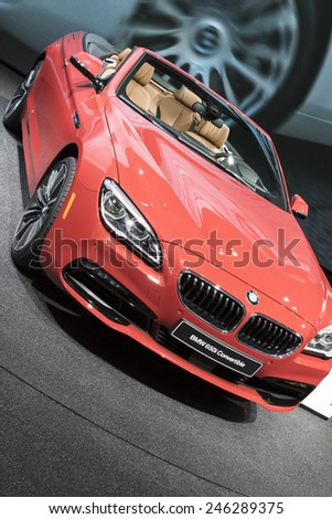 The 2016 BMW 650i convertible at The North American International Auto Show January 13, 2015 in Detroit, Michigan. - stock photo