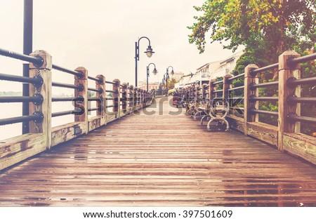 The boardwalk in Wilmington, North Carolina  - stock photo