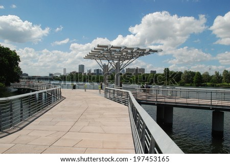 The Boardwalk Trail at Lady Bird Lake - City of Austin completing the current ten point one mile hike and bike trail. - stock photo
