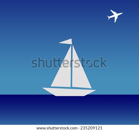 The boat and airplane - stock photo