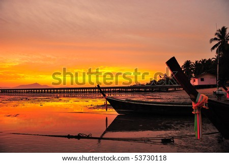the boat in the sunrise time, Trang, Thailand - stock photo