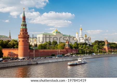 the boat sails past the Kremlin embankment, Moscow, Russia - stock photo
