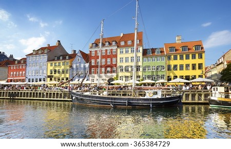 The boats in Nyhavn Canal, Copenhagen, Denmark - stock photo