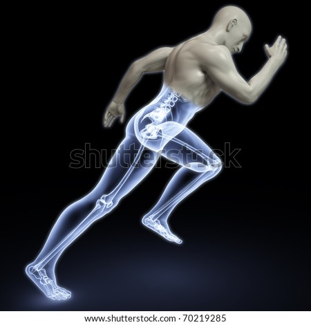 the body of a man running under the X-rays. isolated on black. - stock photo