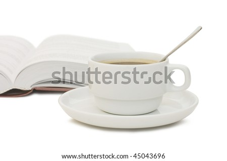 The book and cup from coffee isolated