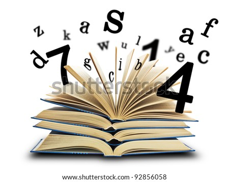 The book and the letters on white. Education concept - stock photo