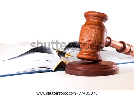 The book, pen and gavel on white background - stock photo