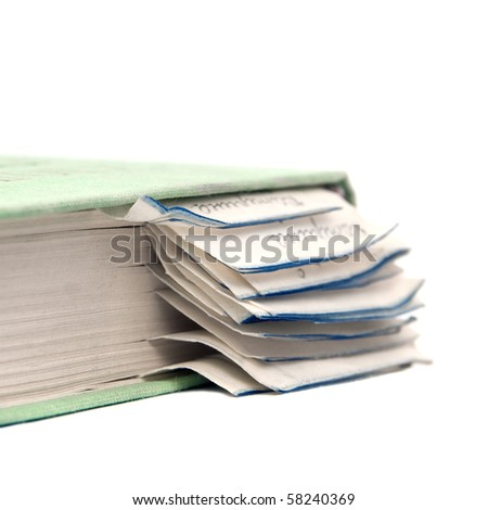 The book with bookmarks on a white background