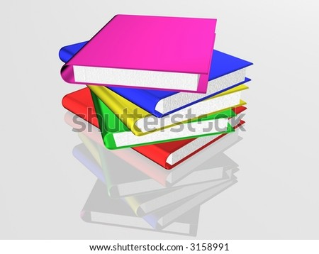 The books combined in a pile. 3D image.