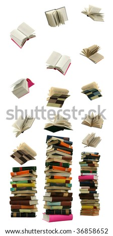 The Books fall overhand and are formed in high piles on the white background. - stock photo