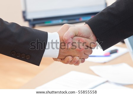the boss is shaking hands with a new business client