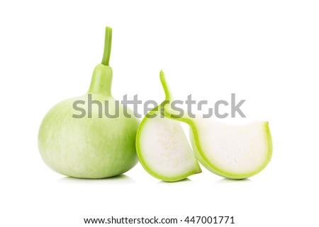 The Bottle Gourd, Calabash on white background. - stock photo