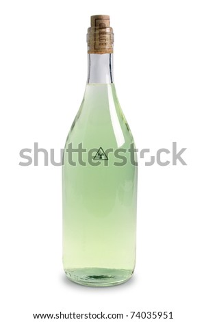 The bottle with green water is isolated on a white background
