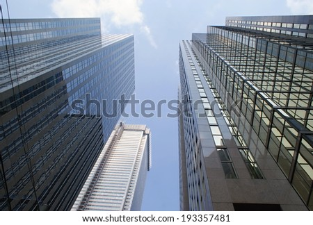 The bottom view onto the Toronto skyscapers. - stock photo