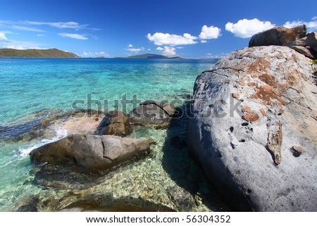 The boulders of Beef Island - British Virgin Islands. - stock photo