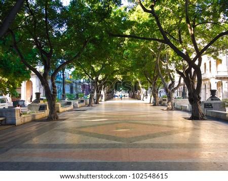 The boulevard of El Prado in Old Havana - stock photo