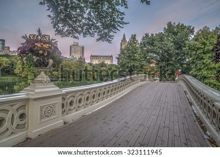 The Bow Bridge  is a cast iron bridge located in Central Park, New York City, crossing over The Lake and used as a pedestrian walkway - stock photo