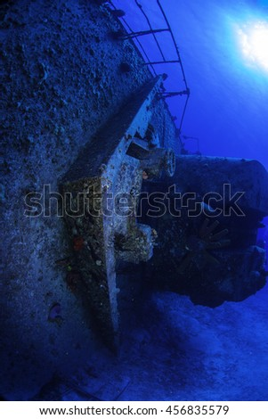The bow guns on the M.V. Keith Tibbetts wreck - stock photo