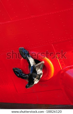 the bow of a ship with anchor - stock photo
