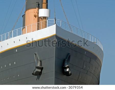 The bow of an ocean going passenger ship - stock photo