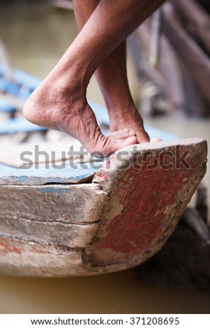 the bow of the boat  - stock photo