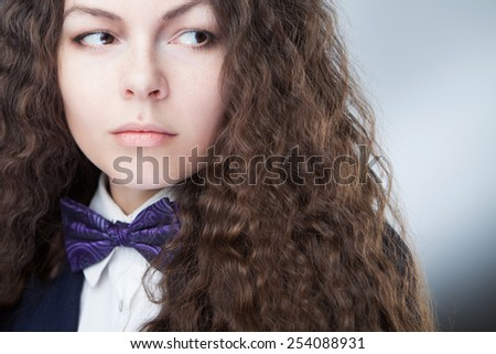 The bow tie on the girl  - stock photo