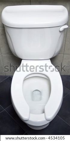 The bowl, seat, and tank of a white porcelain toilet. - stock photo