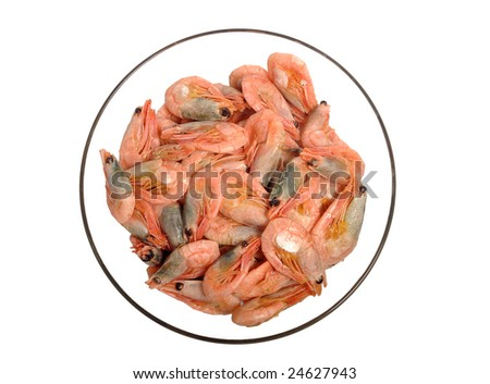 The bowl with fresh shrimps isolated on white - stock photo