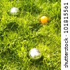 The bowls  balls on a green grass. - stock photo