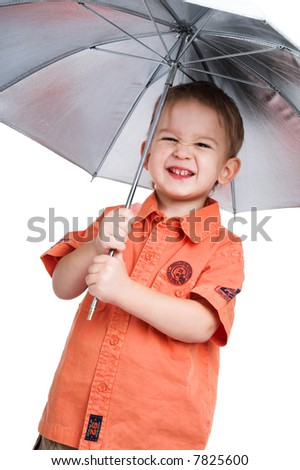 The boy and a  photographic umbrella