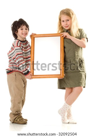 The boy and girl with a frame - stock photo