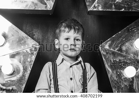 the boy and shining star - stock photo