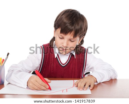 The boy draws the house on a paper isolated on a white - stock photo