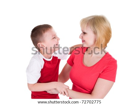 The boy embraces mother and cheerfully laughs. Isolated on a white background