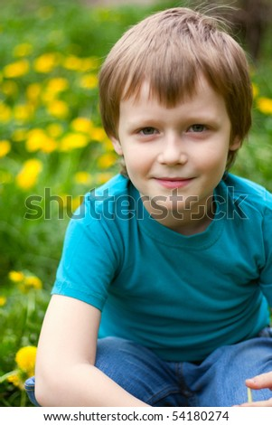 The boy has sat down in a grass near dandelions - stock photo