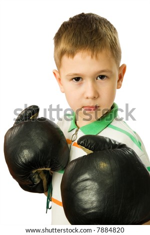 The boy in boxing gloves on a white background - stock photo
