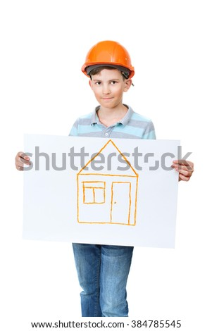 the boy in the construction helmet holding the painted house
