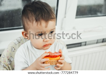 The boy is eating bread with sausage and cheese for Breakfast or lunch or dinner