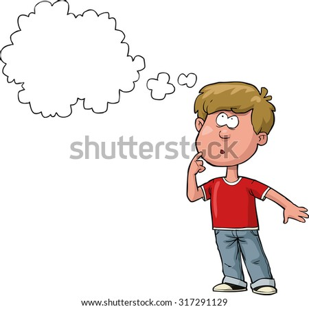 The boy is thinking on a white background raster version - stock photo